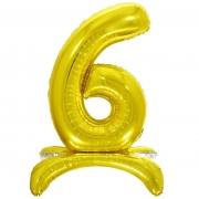 Шар (32''/81 см) Цифра, 6 на подставке, Золото, 1 шт.