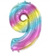 Шар (40''/102 см) Цифра, 9, Диагональная радуга, 1 шт.