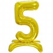 Шар (32''/81 см) Цифра, 5 на подставке, Золото, 1 шт.