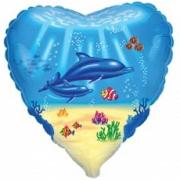 Шар (18''/46 см) Сердце, Дельфинья семья, Голубой, 1 шт.