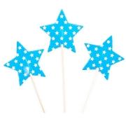 Пики-топперы для канапе Звезды, Белые точки, Голубой, 4*12 см, 12 шт.