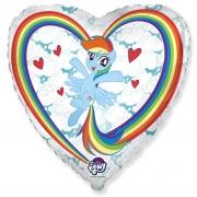 Шар (18''/46 см) Сердце, My Little Pony, Радуга в облаках, 1 шт.