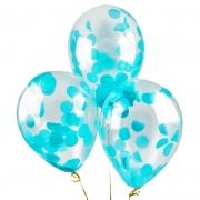 Шар (12''/30 см) С круглым голубым конфетти, 1 шт.
