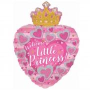 Шар (24''/61 см) Сердце, С Днем Рождения, Маленькая Принцесса, Розовый, 1 шт.