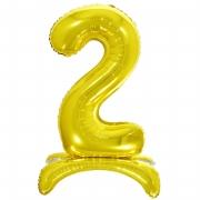 Шар (32''/81 см) Цифра, 2 на подставке, Золото, 1 шт.
