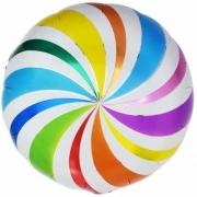 Шар (18''/46 см) Круг, Разноцветный леденец, 1 шт.