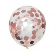 Шар (12''/30 см) С круглым конфетти, Розовое золото, 1 шт.