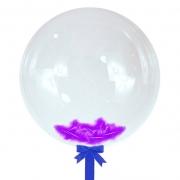 Шар-сфера с фиолетовыми перьями, 45 см