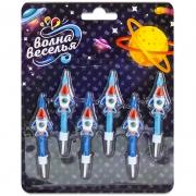 Свечи Космические ракеты, Синий, 6 см, 6 шт.