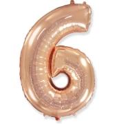 Шар Цифра, 6, Розовое Золото, 1 шт.