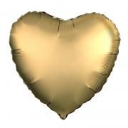 Шар (19''/48 см) Сердце, Золото, Сатин, 1 шт.