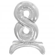 Шар (32''/81 см) Цифра, 8 на подставке, Серебро, 1 шт.