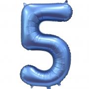 Шар Цифра, 5, Синий, Сатин, 1 шт.