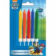 Свечи разноцветные, Щенячий патруль, 5 шт с держателями, 7 см.
