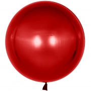 Шар (18''/46 см) Сфера 3D, Deco Bubble, Красный, Хром, 1 шт.