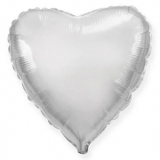 Шар (32''/81 см) Сердце, Серебро, 1 шт.