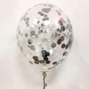 Шар (12''/30 см) С круглым, серебряным, конфетти, 1 шт.