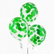 Шар (12''/30 см) С круглым зеленым конфетти, 1 шт.
