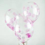 Шар (12''/30 см) С круглым конфетти, фуше/розовый/белый, 1 шт.