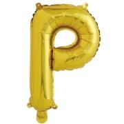 Шар с клапаном (16''/41 см) Мини-буква, Р, Золото, в упаковке 1 шт.