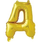 Шар с клапаном (16''/41 см) Мини-буква, Д, Золото, в упаковке 1 шт.