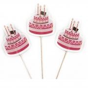 Пики-топперы для канапе Тортики, Розовый, 4*12 см, 12 шт.