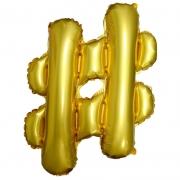 Шар с клапаном (17''/43 см) Мини-фигура, Хештег, Золото, 1 шт.