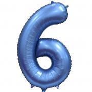 Шар Цифра, 6, Синий, Сатин, 1 шт.