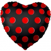 Шар (18''/46 см) Сердце, Красные точки, Черный, 1 шт.