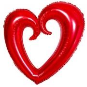 Шар (40''/102 см) Фигура, Сердце вензель, Красный, 1 шт.