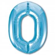 Шар (40''/102 см) Цифра, 0, Slim, Голубой, 1 шт.