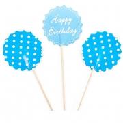 Пики-топперы для канапе С Днем Рождения! (белые точки), Голубой, 4*12 см, 12 шт.