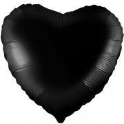Шар (19''/48 см) Сердце, Черный, 1 шт.