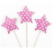 Пики-топперы для канапе Звезды, Белые точки, Розовый, 4*12 см, 12 шт.
