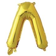 Шар с клапаном (16''/41 см) Мини-буква, Л, Золото, в упаковке 1 шт.