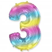 Шар (40''/102 см) Цифра, 3, Диагональная радуга, 1 шт.
