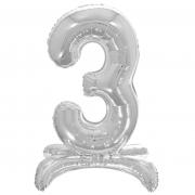 Шар (32''/81 см) Цифра, 3 на подставке, Серебро, 1 шт.