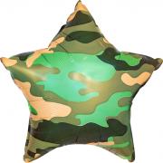 Шар (18''/46 см) Звезда, Камуфляж, Зеленый, 1 шт.