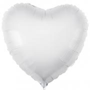 Шар (19''/48 см) Сердце, Белый, 1 шт.