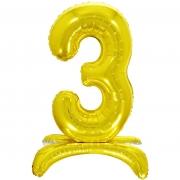 Шар (32''/81 см) Цифра, 3 на подставке, Золото, 1 шт.