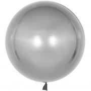 Шар с клапаном (18''/46 см) Сфера 3D, Deco Bubble, Серебро, 1 шт.