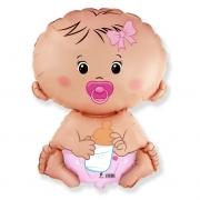 Шар (26''/66 см) Фигура, Малышка девочка, Розовый, 1 шт.