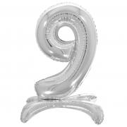 Шар (32''/81 см) Цифра, 9 на подставке, Серебро, 1 шт.