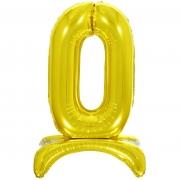 Шар (32''/81 см) Цифра, 0 на подставке, Золото, 1 шт.