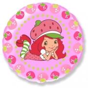 Шар (18''/46 см) Круг, Клубничка и ягоды, Розовый, 1 шт.