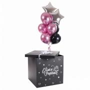 """Коробка с шарами """"С днем рождения ! (тортик)"""""""