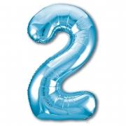 Шар (40''/102 см) Цифра, 2, Slim, Голубой, 1 шт.