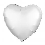 Шар (19''/48 см) Сердце, Белый жемчужный, Сатин, 1 шт.