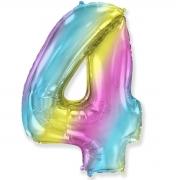 Шар (40''/102 см) Цифра, 4, Диагональная радуга, 1 шт.