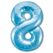 Шар (40''/102 см) Цифра, 8 Slim, Голубой, 1 шт.